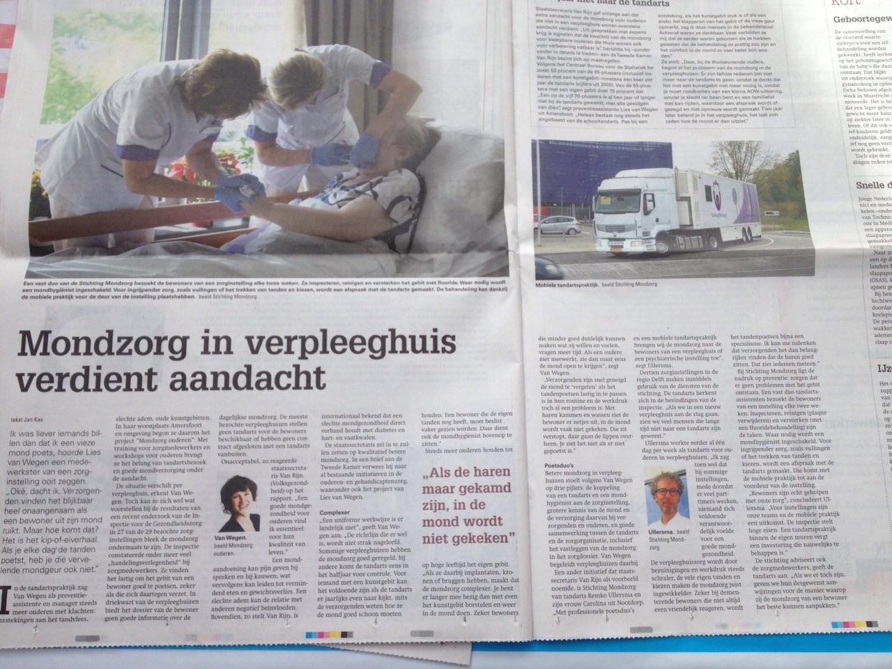 Krantenartikel Stichting Mondzorg