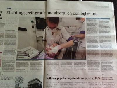 Artikel over Stichting Mondzorg in het Nederlands Dagblad